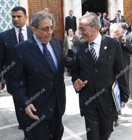 Lebanese Foreign Minister Ali Shami (r) Walks with Arab League Secretary General Amr Moussa (l) at the Arab League Headquarters in Cairo Egypt on 02 March 2010 Arab Foreign Ministers and the Palestinian President Mahmoud Abbas Are Gathering in Cairo to Discuss Regional Issues and the Stalled Palestinian-israeli Peace Process Egypt Cairo