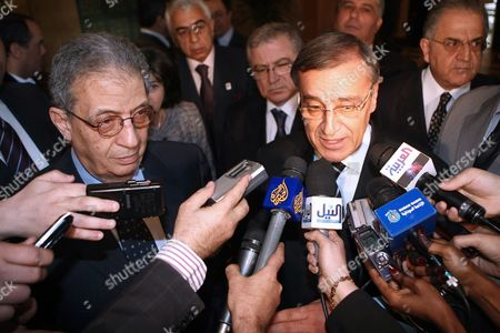 Lebanese Foreign Minister Ali Shami (r) Comments to the Media with Arab League Secretary General Amr Moussa (l) at the Arab League Headquarters in Cairo Egypt on 02 March 2010 Arab Foreign Ministers and the Palestinian President Mahmoud Abbas Are Gathering in Cairo to Discuss Regional Issues and the Stalled Palestinian-israeli Peace Process Egypt Cairo