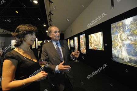 Pal Sarkozy with a Guest During the Vernisage of the 'Entente Subtile' Exhibit by Pal Sarkozy and Werner Hornung at the Espace Pierre Cardin in Paris France 24 April 2010 the Exhibit Runs Until 09 May Pal Father of French President Nicolas Sarkozy Began Collaboration with Werner Hornung in 2004 France Paris