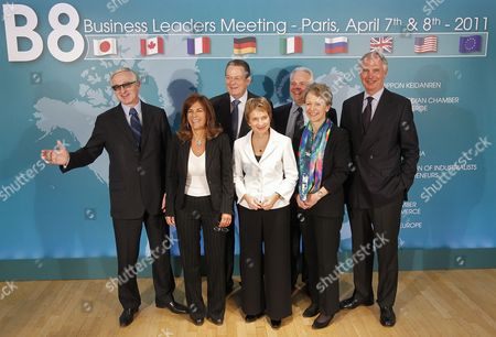 (l-r) Russian President of the Rspp (russian Union of Industrialists and Entrepreneurs) Alexander N Shokhin Italian President of Confindustria Emma Marcegaglia President of Businesseurope Jurgen R Thumann French Head of Medef Laurence Parisot Us Vice-president of the Us Chamber of Commerce Michael L Ducker British President of the Cbi (confederation of British Industry) Helen Alexander and President of the Bdi (federational German Industries) Dr Hans-peter Keitel Pose For a Family Photo at the B8 Business Confederations Forum in Paris France 08 April 2011 France Paris