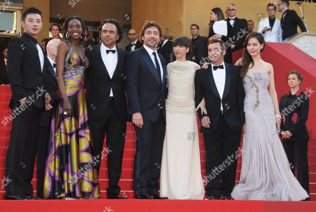 (l-r) Actor Luo Jin Senegalese Actress Diaryatou Daff Mexican Director Alejandro Gonzalez Inarritu Spanish Actor Javier Bardem Argentinian Actress Maricel Alvarez Spanish Actor Eduard Fernandez and Actress Martina Garcia Arrive For the Screening of the Movie 'Biutiful' During the 63rd Cannes Film Festival in Cannes France 17 May 2010 the Movie by Alejandro Gonzalez Inarritu is Presented in Competition at the Cannes Film Festival 2010 Running From 12 to 23 May France Cannes