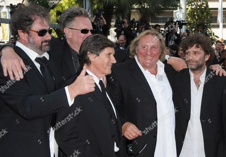 Stock Photo of French Actor Gerard Depardieu (2-r) French Directors Gustave De Kervern (l) and Benoit Delepine (2-l) and Guests Arrive For the Screening of the Movie 'Fair Game' During the 63rd Cannes Film Festival in Cannes France 20 May 2010 the Movie by Us Director Doug Liman is Presented in Competition at the Cannes Film Festival 2010 Running From 12 to 23 May France Cannes