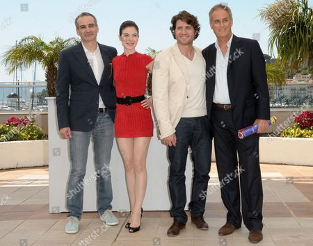 (l-r) French Director Olivier Assayas Austrian Actress Nora Von Waldstaetten Venezuelan Actor Edgar Ramirez and French Producer Daniel Leconte Pose During the Photocall of 'Carlos' Presented out of Competition During the 63rd Cannes Film Festival in Cannes France 20 May 2010 the Cannes Film Festival 2010 Runs From 12 to 23 May France Cannes