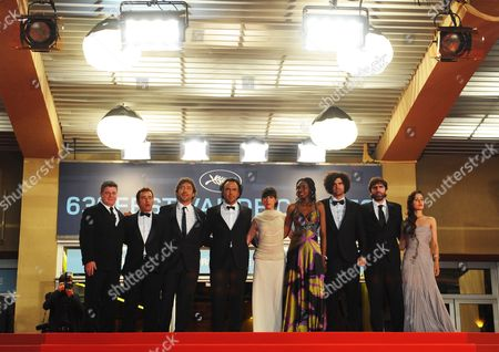 Stock Picture of Spanish Actor Eduard Fernandez (2-l) Spanish Actor Javier Bardem (3-l) Mexican Director Alejandro Gonzalez Inarritu (4-l) Argentinian Actress Maricel Alvarez (c) Senegalese Actress Diaryatou Daff (4-r) Argentinian Scriptwriter Armando Bo (3-r) Actress Martina Garcia (r) and Guests Leave the Screening of the Movie 'Biutiful' During the 63rd Cannes Film Festival in Cannes France 17 May 2010 the Movie by Alejandro Gonzalez Inarritu was Presented in Competition at the Cannes Film Festival 2010 Running From 12 to 23 May France Cannes