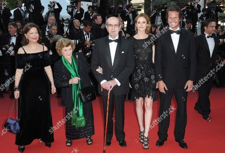 Portuguese Director Manoel De Oliveira (c) Arrives with His Wife Maria Isabel Carvalhais (2-l) Spanish Actress Pilar Lopez (2-r) Portuguese Actor Ricardo Trepa (r) and a Guest (l) For the Screening of the Movie 'Tournee' (on Tour) During the 63rd Cannes Film Festival in Cannes France 13 May 2010 the Movie by French Director Mathieu Amalric is Presented in Competition at the Cannes Film Festival 2010 Running From 12 to 23 May France Cannes