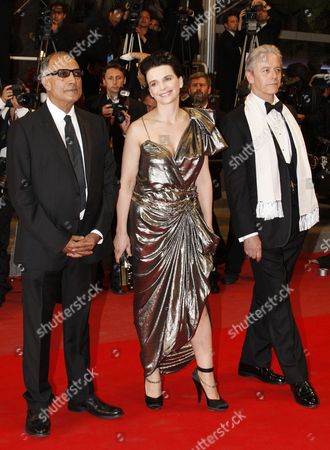 (l-r) Iranian Director Abbas Kiarostami French Actress Juliette Binoche and British Opera Singer William Shimell Arrive For the Screening of the Movie 'Copie Conforme' (certified Copy) During the 63rd Cannes Film Festival in Cannes France 18 May 2010 the Movie by Abbas Kiarostami is Presented in Competition at the Cannes Film Festival 2010 Running From 12 to 23 May France Cannes
