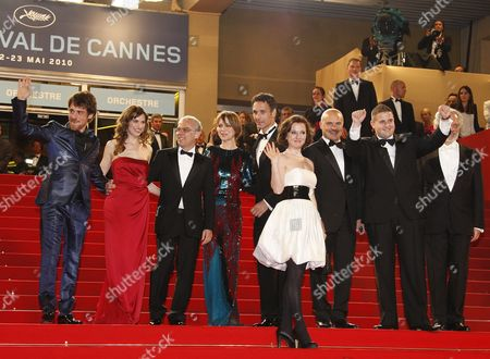(l-r) Italian Actor Elio Germano Italian Actress Stefana Montorsi Italian Director Daniele Luchetti Italian Actress Isabella Ragonese Italian Actor Raoul Bova Actress Alina Berzenteanu Italian Actor Luca Zingaretti Actor Marius Ignat and Actor Giorgio Colangeli Arrive For the Screening of the Movie 'La Nostra Vita' (our Life) During the 63rd Cannes Film Festival in Cannes France 20 May 2010 the Movie by Daniele Luchetti is Presented in Competition at the Cannes Film Festival 2010 Running From 12 to 23 May France Cannes