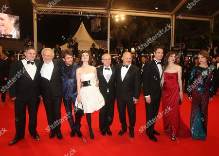 (l-r) Actor Marius Ignat Actor Giorgio Colangeli Italian Actor Elio Germano Actress Alina Berzenteanu Italian Director Daniele Luchetti Italian Actor Luca Zingaretti Italian Actor Raoul Bova Italian Actress Stefana Montorsi and Italian Actress Isabella Ragonese Arrive For the Screening of the Movie 'La Nostra Vita' (our Life) During the 63rd Cannes Film Festival in Cannes France 20 May 2010 the Movie by Italian Director Daniele Luchetti is Presented in Competition at the Cannes Film Festival 2010 Running From 12 to 23 May France Cannes