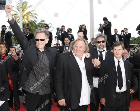 Stock Picture of French Actor Gerard Depardieu (2-l) French Directors Gustave De Kervern (2-r) and Benoit Delepine (l) and Guest Arrive For the Screening of the Movie 'Fair Game' During the 63rd Cannes Film Festival in Cannes France 20 May 2010 the Movie by Us Director Doug Liman is Presented in Competition at the Cannes Film Festival 2010 Running From 12 to 23 May France Cannes