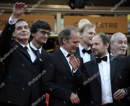 French Actors Samuel Labarthe Hippolyte Girardot and Denis Podalydes Arrive For the Screening of 'La Conquete' (the Conquest) During the 64th Cannes Film Festival in Cannes France 18 May 2011 the Movie by French Director Xavier Durringer is Presented out of Competition at the Film Festival Running From 11 to 22 May France Cannes