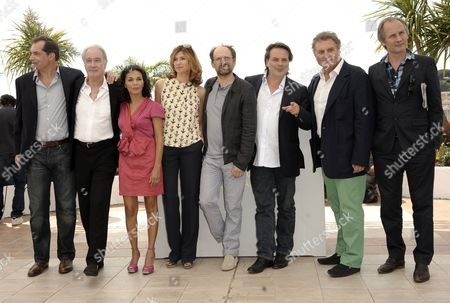 (l-r) French Actors Samuel Labarthe Bernard Le Coq Saida Jawad Florence Pernel Denis Podalydes French Director Xavier Durringer French Screenwriter Patrick Rotman and French Actor Hippolyte Girardot Pose During the Photocall For 'La Conquete' (the Conquest) at the 64th Cannes Film Festival in Cannes France 18 May 2011 the Movie by Xavier Durringer is Presented out of Competition at the Film Festival Running From 11 to 22 May France Cannes