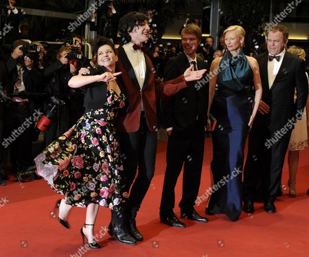 British Director Lynne Ramsay (l) Us Actor Ezra Miller (2-l) Co-writer Rory Stewart Kinnear (3-l) Us Actor John C Reilly (r) and British Actress Tilda Swinton (2-r) Arrive For the Screening of 'We Need to Talk About Kevin' During the 64th Cannes Film Festival in Cannes France 12 May 2011 the Movie by Lynne Ramsay is Presented in the Official Competition of the Film Festival Running From 11 to 22 May France Cannes