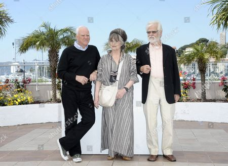 (l-r) British Actor Malcolm Mcdowell Stanley Kubrick's Widow Christiane Kubrick and Producer Jan Harlan Pose During the Photocall For 'Cannes Classics Masterclass' at the 64th Cannes Film Festival in Cannes France 20 May 2011 the Movie 'Clockwork Orange' by Stanley Kubrick is Presented in the 'Cannes Classics' Section of the Film Festival Running From 11 to 22 May France Cannes