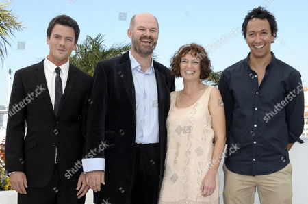 (l-r) South African Actor Charlie Keegan South African Actor Deon Lootz Actress Michelle Scott and South African Director Oliver Hermanus Pose During the Photocall For 'Skoonheid' at the 64th Cannes Film Festival in Cannes France 17 May 2011 the Movie by Oliver Hermanus is Presented in the 'Un Certain Regard' Section of the Film Festival Running From 11 to 22 May France Cannes