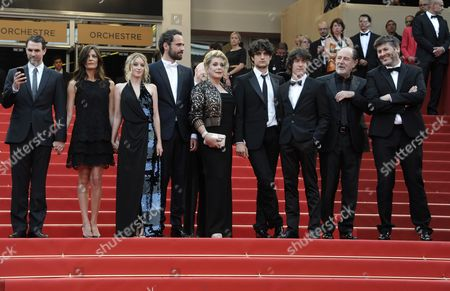 (l-r) Actor Paul Schneider French Actress Chiara Mastroianni French Actress Ludivine Sagnier Actor Rasha Bukvic French Actress Catherine Deneuve French Actor Louis Garrel Actor Dustin Segura Suarez French Singer Michel Delpech and French Director Christophe Honore Arrive For the Screening of 'Les Bien-aimes' (beloved) and the Closing Award Ceremony of the 64th Cannes Film Festival in Cannes France 22 May 2011 the Screening of the Movie by Christophe Honore Presented out of Competition Closes the Film Festival France Cannes