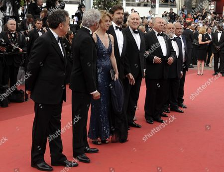 (l-r) Italian Actress Margherita Buy Italian Director Nanni Moretti French Actor Michel Piccoli Polish Actor Jerzy Stuhr Italian Actor Dario Cantarelli Italian Actor Renato Scarpa and Guests Arrive For the Screening of 'Habemus Papam' During the 64th Cannes Film Festival in Cannes France 12 May 2011 the Movie by Italian Director Nanni Moretti is Presented in the Official Competition of the Film Festival Running From 11 to 22 May France Cannes