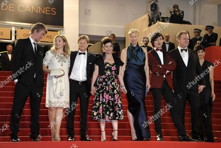 Us Actor Ezra Miller (3-r) Co-writer Rory Stewart Kinnear (l) Producer Luc Roeg (3-l) Us Actor John C Reilly (2-r) British Actress Tilda Swinton (4-r) British Director Lynne Ramsay (c) and Guests Arrive For the Screening of 'We Need to Talk About Kevin' During the 64th Cannes Film Festival in Cannes France 12 May 2011 the Movie by Lynne Ramsay is Presented in the Official Competition of the Film Festival Running From 11 to 22 May France Cannes