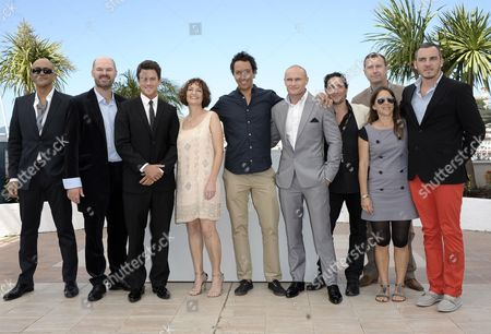 (l-r) Costume Designer Reza Levy South African Actor Deon Lootz South African Actor Charlie Keegan Actress Michelle Scott South African Director Oliver Hermanus South African Actor Jamie Ramsay South African Actor Dylan Voogt Producer Didier Costet Producer Genevieve Hofmeyer and Producer Marin Saven Pose During the Photocall For 'Skoonheid' at the 64th Cannes Film Festival in Cannes France 17 May 2011 the Movie by Oliver Hermanus is Presented in the 'Un Certain Regard' Section of the Film Festival Running From 11 to 22 May France Cannes
