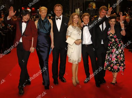 Us Actor Ezra Miller (l) Co-writer Rory Stewart Kinnear (2-r) Producer Luc Roeg (3-r) Us Actor John C Reilly (3-l) British Actress Tilda Swinton (2-l) British Director Lynne Ramsay (r) and Guest Arrive For the Screening of 'We Need to Talk About Kevin' During the 64th Cannes Film Festival in Cannes France 12 May 2011 the Movie by Lynne Ramsay is Presented in the Official Competition of the Film Festival Running From 11 to 22 May France Cannes