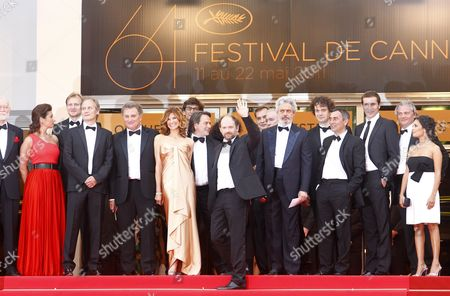French Actor Denis Podalydes (c) Arrives with Actors Saida Jawad (r) Florence Pernel (5-l) Director Xavier Durringer (6-l) Screenwriter Patrick Rotman (4-l) Gregory Fitoussi (3-r) For the Screening of 'La Conquete' (the Conquest) During the 64th Cannes Film Festival in Cannes France 18 May 2011 the Movie by Xavier Durringer is Presented out of Competition at the Film Festival Running From 11 to 22 May France Cannes