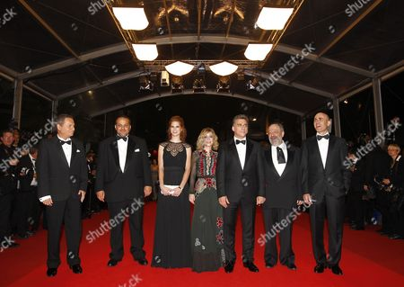(l-r) Israeli Actor Shlomo Bar Aba Producer David Mandil Israeli Actress Yuval Scharf Israeli Actress Alma Zak Israeli Actor Lior Ashkenazi Israeli Actor Micah Lewensohn and Israeli Director Joseph Cedar Arrive For the Screening of 'Hearat Shulayim' (footnote) During the 64th Cannes Film Festival in Cannes France 14 May 2011 the Movie by Joseph Cedar is Presented in the Official Competition of the Film Festival Running From 11 to 22 May France Cannes