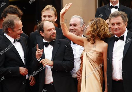 (l-r) French Actors Denis Podalydes Hippolyte Girardot Bernard Le Coq Florence Pernel and French Screenwriter Patrick Rotman Arrive For the Screening of 'La Conquete' (the Conquest) During the 64th Cannes Film Festival in Cannes France 18 May 2011 the Movie by French Director Xavier Durringer is Presented out of Competition at the Film Festival Running From 11 to 22 May France Cannes
