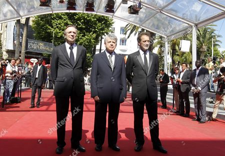 French Producer Michel Seydoux (l) French Director Alain Cavalier (c) and French Actor Vincent Lindon (r) Arrive For the Screening of 'Pater' During the 64th Cannes Film Festival in Cannes France 17 May 2011 the Movie by Alain Cavalier is Presented in the Official Competition of the Film Festival Running From 11 to 22 May France Cannes
