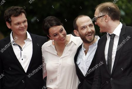 Actors Victor Tremmel (l) Michael Fuith (2-r) Austrian Director Markus Schleinzer (r) and Actress Ursula Strauss (2-l) Arrive For the Screening of 'Michael' During the 64th Cannes Film Festival in Cannes France 14 May 2011 the Movie by Markus Schleinzer is Presented in the Official Competition of the Film Festival Running From 11 to 22 May France Cannes