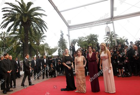 (l-r) Australian Producer Jessica Brentnall Actress Emily Browning Director Julia Leigh and Actress Rachael Blake Arrive For the Screening of 'Sleeping Beauty' During the 64th Cannes Film Festival in Cannes France 12 May 2011 the Movie by Julia Leigh is Presented in the Official Competition of the Film Festival Running From 11 to 22 May France Cannes