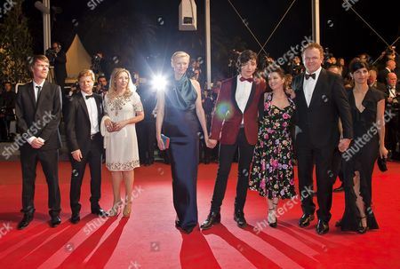 Co-writer Rory Stewart Kinnear (l) Us Actor Ezra Miller (4-r) Producer Luc Roeg (2-l) Us Actor John C Reilly (2-r) British Actress Tilda Swinton (c) British Director Lynne Ramsay (3-r) and Guests Arrive For the Screening of 'We Need to Talk About Kevin' During the 64th Cannes Film Festival in Cannes France 12 May 2011 the Movie by Lynne Ramsay is Presented in the Official Competition of the Film Festival Running From 11 to 22 May France Cannes