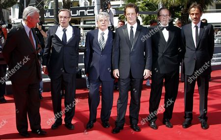 Stock Picture of French Actor Vincent Lindon (3-r) French Director Alain Cavalier (3-l) French Producer Michel Seydoux (2-l) and Guests Arrive For the Screening of 'Pater' During the 64th Cannes Film Festival in Cannes France 17 May 2011 the Movie by Alain Cavalier is Presented in the Official Competition of the Film Festival Running From 11 to 22 May France Cannes