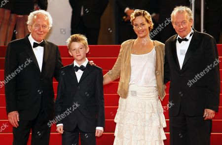 (l-r) Belgian Director Jean-pierre Dardenne Belgian Actor Thomas Doret Belgian Actress Cecile De France and Belgian Director Luc Dardenne Arrive For the Screening of 'Le Gamin Au Velo' (the Kid with the Bike) During the 64th Cannes Film Festival in Cannes France 15 May 2011 the Movie by Jean-pierre and Luc Dardenne is Presented in the Official Competition of the Film Festival Running From 11 to 22 May France Cannes