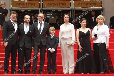 (l-r) Actors Victor Tremmel Michael Fuith Director Markus Schleinzer Actors David Rauchenberger Ursula Strauss Gisella Salcher and Christine Kain Arrive For the Screening of 'Michael' During the 64th Cannes Film Festival in Cannes France 14 May 2011 His Movie is Presented in the Official Competition of the Film Festival Running From 11 to 22 May France Cannes
