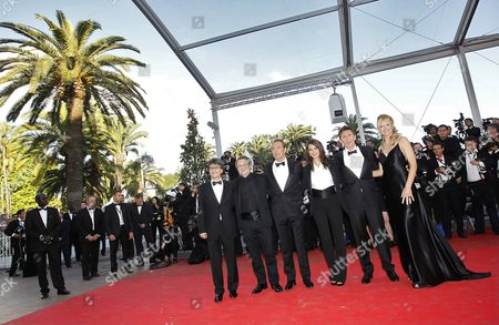 French Director Michel Hazanavicius (2-r) Us Actress Missi Pyle (r) French Actress Berenice Bejo (3-r) French Actor Jean Dujardin (3-l) French Cinematographer Guillaume Schiffman (2-l) and French Producer Thomas Langmann (l) Arrive For the Screening of 'The Artist' During the 64th Cannes Film Festival in Cannes France 15 May 2011 the Movie by Michel Hazanavicius is Presented in the Official Competition of the Film Festival Running From 11 to 22 May France Cannes