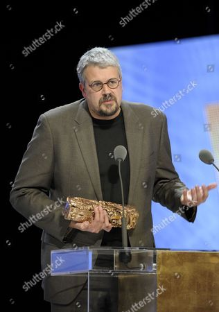 Stock Picture of French Director Sylvain Chomet Receives the Best Animated Feature For 'L'illusioniste' (the Illusionist) During the 36th Cesar Awards Ceremony Held at the Chatelet Theatre in Paris France 25 February 2011 the 'Academie Des Arts Et Techniques Du Cinema' of France Honours Excellence in 21 Categories France Paris