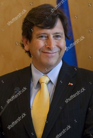 Chilean Minister of Mining Laurence Golborne Attends a Trade Agreement Meeting with French Energy Industry and Digital Economy Minister Eric Besson (unseen) at the Finance Ministry in Paris France 24 February 2011 France Paris