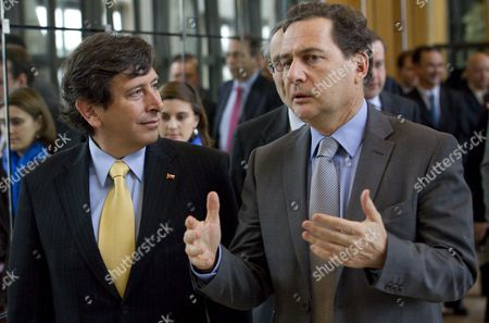 French Energy Industry and Digital Economy Minister Eric Besson (r) Speaks with Chilean Minister of Mining Laurence Golborne As They Meet For Trade Agreements at the Finance Ministry in Paris France 24 February 2011 France Paris