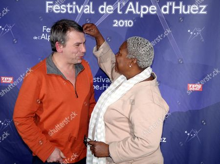 Stock Picture of French Actors Firmine Richard (r) and Philippe Torreton Pose During a Photocall As They Attend the 13th Alpe D'huez Film Festival in L'alpe D'huez France 20 January 2010 the Festival Runs Until 24 January France L'alpe D'huez