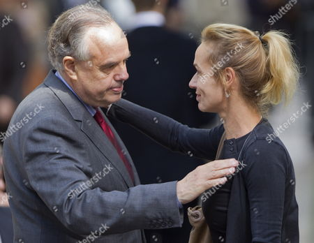 French Culture Minister Frederic Mitterrand (l) Greets French Actress Sandrine Bonnaire As They Arrive For a Ceremony to Pay Tribute to French Film Maker Claude Chabrol in Paris France 17 September 2010 Chabrol who Died at the Age of 80 on 17 September 2010 is One of France's Most Eminent Film Directors and Known For Founding the New Wave Movement in French Cinema of the 1950s France Paris