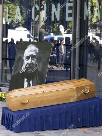 The Coffin of the Late French Film Maker Claude Chabrol Lies in Front of His Portrait During a Ceremony to Pay Tribute to Claude Chabrol in Paris France 17 September 2010 Chabrol who Died at the Age of 80 on 17 September 2010 is One of France's Most Eminent Film Directors and Known For Founding the New Wave Movement in French Cinema of the 1950s France Paris