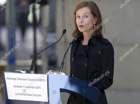 Stock Photo of French Actress Isabelle Huppert Speaks During a Ceremony to Pay Tribute to French Film Maker Claude Chabrol in Paris France 17 September 2010 Chabrol who Died at the Age of 80 on 17 September 2010 is One of France's Most Eminent Film Directors and Known For Founding the New Wave Movement in French Cinema of the 1950s France Paris