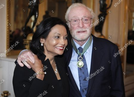 British Actor Sir Michael Caine Poses with His Wife Shakira Baksh After Being Granted the Knight of the Order of Arts and Letters Award During a Ceremony at the Ministry of Culture in Paris France 06 January 2011 France Paris
