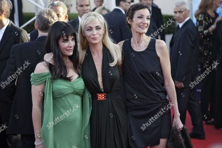 Stock Image of French Actress Emmanuelle Beart (c) President of the Festival Jury Poses with Jury Members French Director Christine Citti (l) and French Actress Jeanne Balibar (r) on the Red Carpet As They Arrive at the 36th Annual Deauville American Film Festival in Deauville France 03 September 2010 the Festival Running From 03 to 12 September Opens with a Tribute to Us-born British Director Terry Gilliam with the Screening of His Movie 'Brazil - Director's Cut ' France Deauville