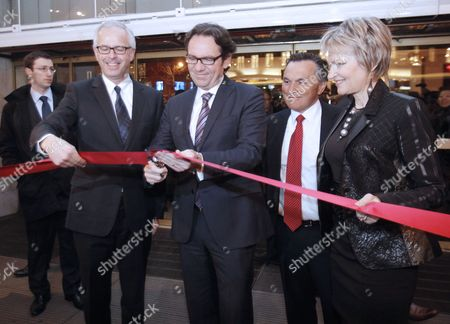 French Junior Minister For Trade Small- and Medium-sized Businesses Tourism the Service Industry Independent Professions and Consumption Frederic Lefebvre (c) Launches Paris' Gallerie Lafayettes Department Store Winter Sales in Paris France 12 January 2011 France Paris