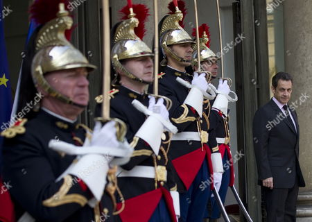 President of France Nicolas Sarkozy Awaits the Kuwait Prime Minister Sheikh Nasser Mohammed Al Ahmed Al Sabah at the Elysee Palace in Paris France 16 March 2010 France Paris