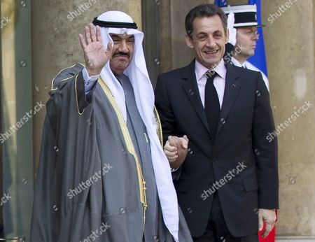 President of France Nicolas Sarkozy Greets Kuwait Prime Minister Sheikh Nasser Mohammed Al Ahmed Al Sabah at the Elysee Palace in Paris France 16 March 2010 France Paris