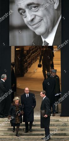 Former French President Jacques Chirac (c) and His Wife Bernadette Chirac (l) Exit the Chapel After the Funeral Ceremony For Former French Politician and President of the 'Cour Des Comptes' (france's Public Finance Watchdog Committee) Philippe Seguin at Invalides in Paris France 11 January 2010 Seguin an Influential and Eurosceptic French Politician Died of a Heart Attack on 07 January 2010 Aged 66 France Paris