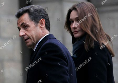French President Nicolas Sarkozy (l) and His Wife Carla Bruni-sarkozy Exit the Chapel After the Funeral Ceremony For Former French Politician and President of the 'Cour Des Comptes' (france's Public Finance Watchdog Committee) Philippe Seguin at Invalides in Paris France 11 January 2010 Seguin an Influential and Eurosceptic French Politician Died of a Heart Attack on 07 January 2010 Aged 66 France Paris