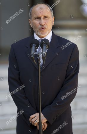 President of Libyan Council of National Transition (cnt) Mustafa Abdeljalil Speaks to Media at the Elysee Palace After Meeting with French President Nicolas Sarkozy in Paris France 20 April 2011 Abdeljalil Met Sarkozy in a Bid to Maintain Diplomatic Momentum in the Absence of Military Progress in the Insurgents' Campaign Against Libya's Leader Colonel Muammar Gaddafi France Paris