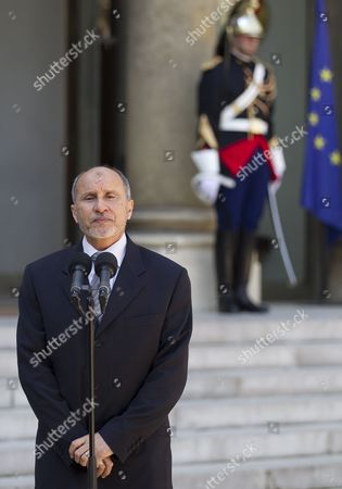 Stock Image of President of Libyan Council of National Transition (cnt) Mustafa Abdeljalil Speaks to Media at the Elysee Palace After Meeting with French President Nicolas Sarkozy in Paris France 20 April 2011 Abdeljalil Met Sarkozy in a Bid to Maintain Diplomatic Momentum in the Absence of Military Progress in the Insurgents' Campaign Against Libya's Leader Colonel Muammar Gaddafi France Paris